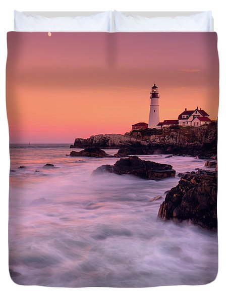 Duvet Cover featuring the photograph Portland Head Light In Pink  by Emmanuel Panagiotakis