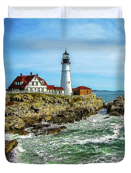 Portland Head Light - Oldest Lighthouse In Maine Duvet Cover