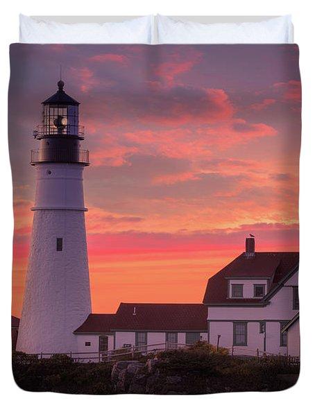 Duvet Cover featuring the photograph Portland Head Light Sun Set  by Emmanuel Panagiotakis