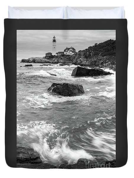 Duvet Cover featuring the photograph Portland Head Light Under Heavy Skies  -88356 by John Bald