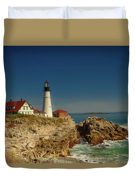 Portland Head Lighthouse 2 Duvet Cover by Sherman Perry