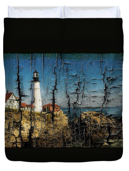 Portland Head Lighthouse 5 Duvet Cover by Sherman Perry