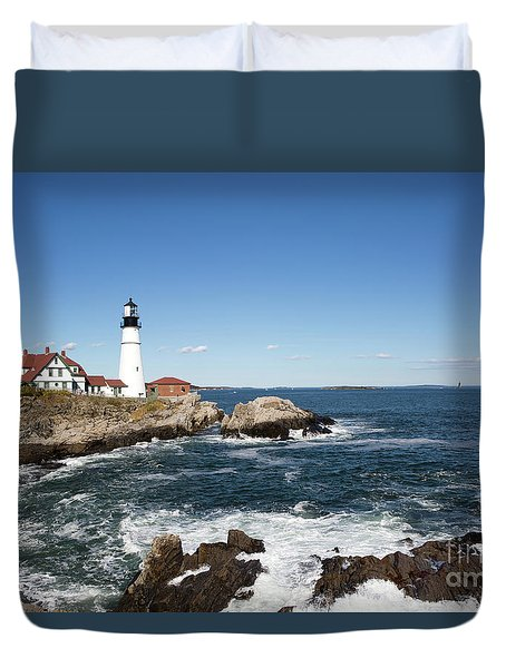 Duvet Cover featuring the photograph Portland Head Lighthouse Maine by Steven Frame