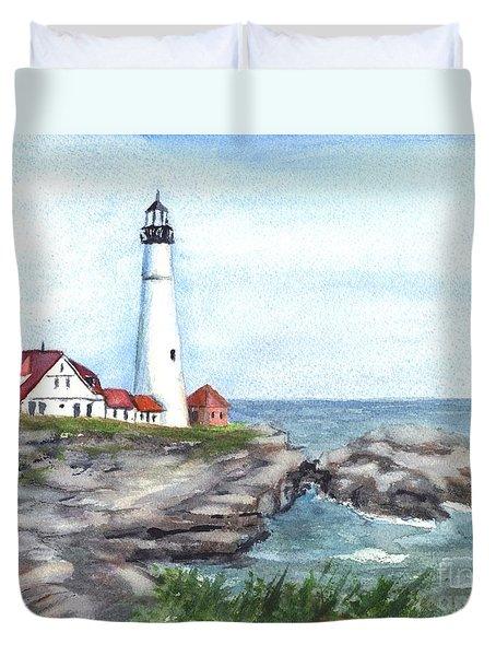 Portland Head Lighthouse Maine Usa Duvet Cover