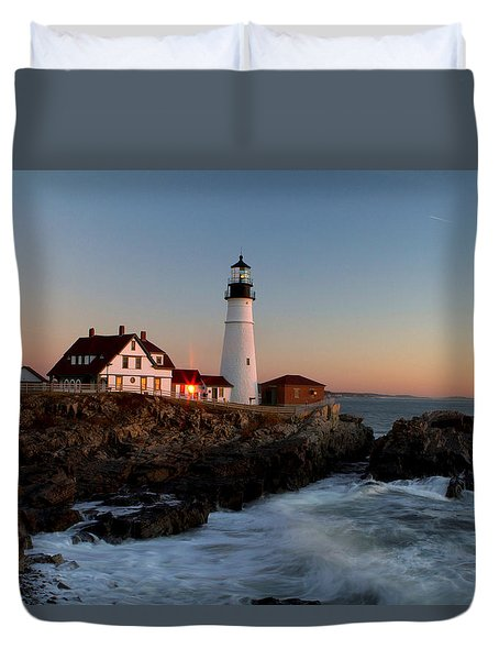Portland Head Lighthouse Sunrise Duvet Cover by Betty Pauwels