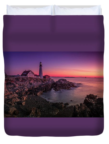Duvet Cover featuring the photograph Portland Head Lighthouse Sunrise  by Emmanuel Panagiotakis