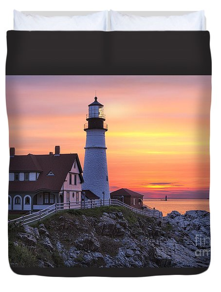 Portland Head Lighthouse Sunrise Duvet Cover