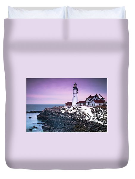 Duvet Cover featuring the photograph Maine Portland Headlight Lighthouse In Winter Snow by Ranjay Mitra