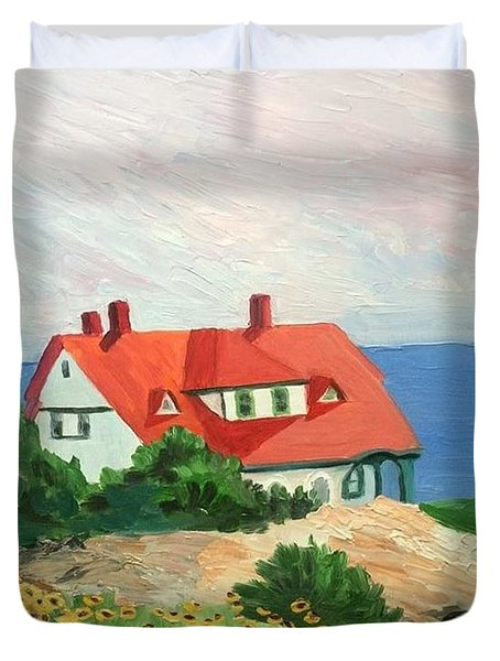Portland Headlight With Brown Eyed Susans Duvet Cover