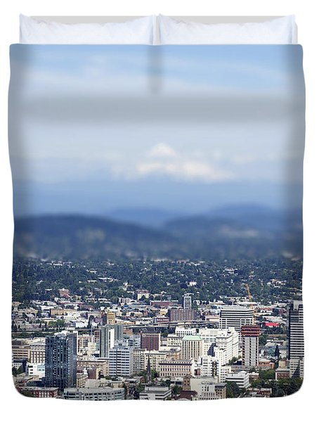 Portland In Perspective Duvet Cover