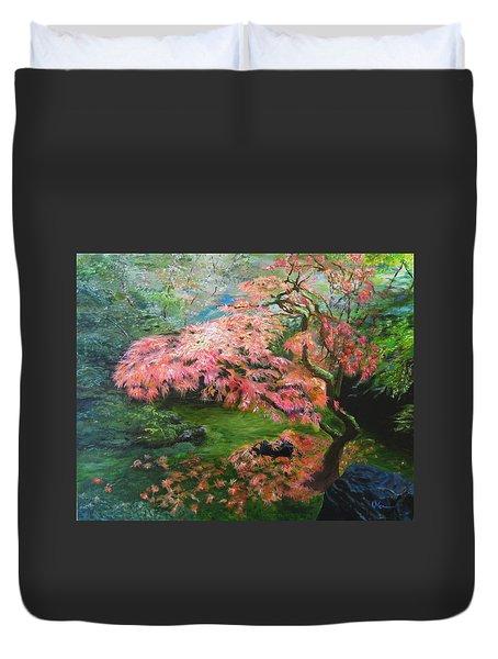 Portland Japanese Maple Duvet Cover by LaVonne Hand