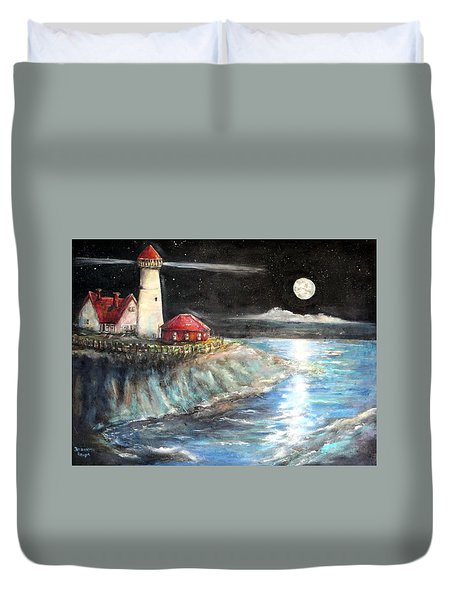 Portland Maine Twilight Duvet Cover by Bernadette Krupa
