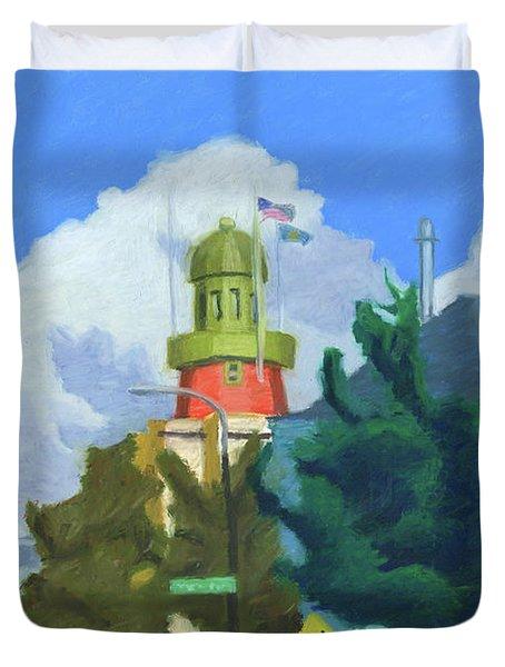 Portland Observatory From Congress Street Duvet Cover