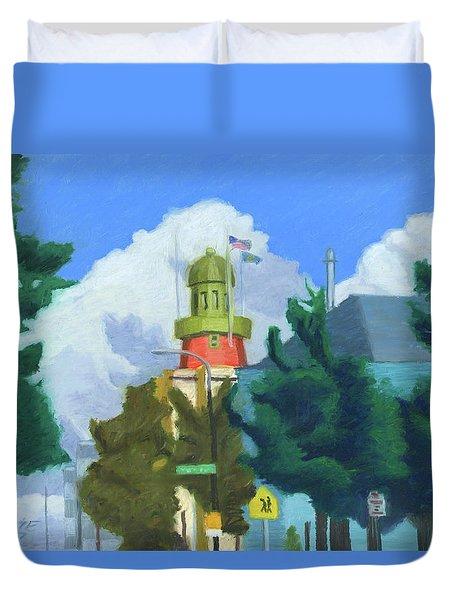 Portland Observatory From Congress Street Duvet Cover