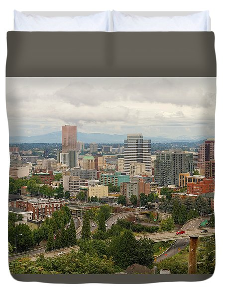 Portland Oregon Downtown Cityscape By Freeway Duvet Cover