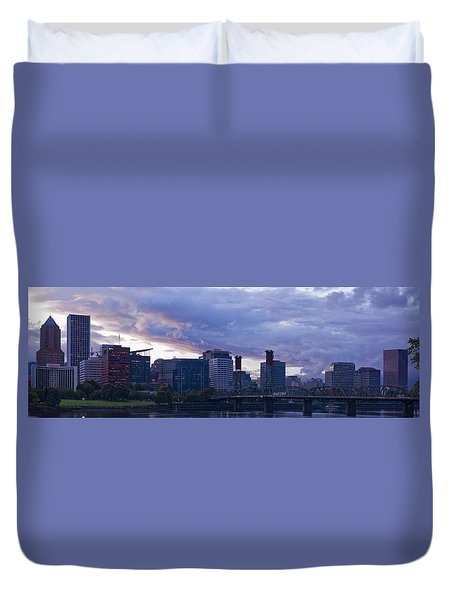 Duvet Cover featuring the photograph Portland Oregon Panorama by Jonathan Davison