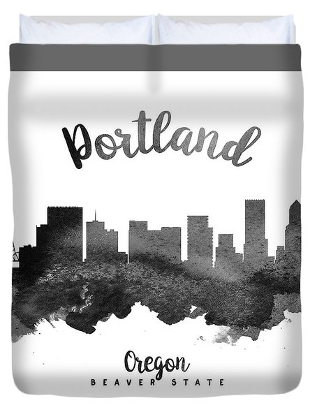 Portland Oregon Skyline 18 Duvet Cover