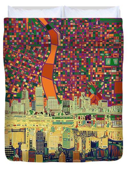 Portland Skyline Abstract 3 Duvet Cover