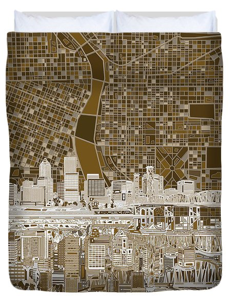 Portland Skyline Abstract 6 Duvet Cover