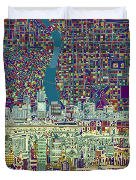 Portland Skyline Abstract 7 Duvet Cover
