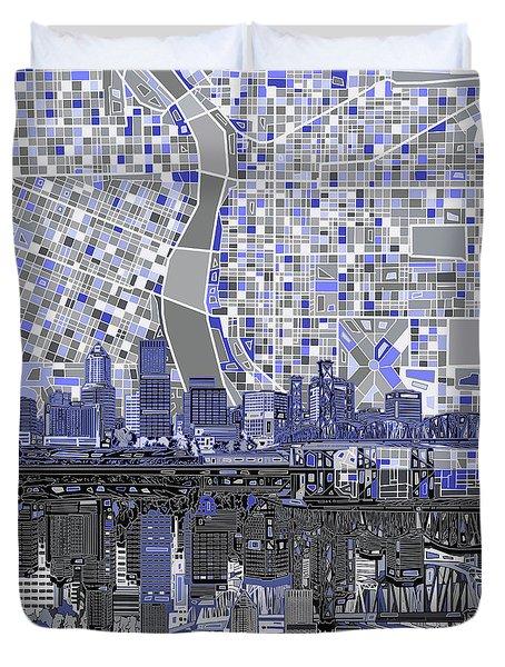 Portland Skyline Abstract Nb Duvet Cover by Bekim Art
