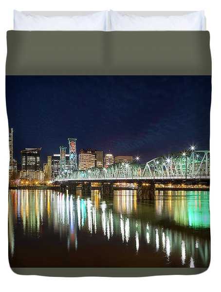 Portland Skyline By Hawthorne Bridge At Night Duvet Cover by David Gn