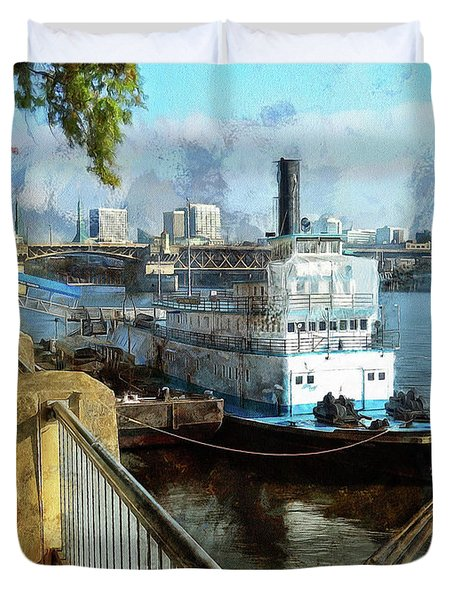Duvet Cover featuring the photograph Portland Sunday Walk by Thom Zehrfeld
