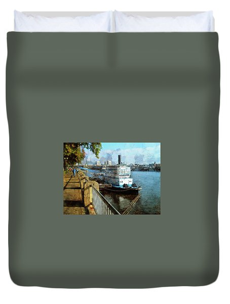 Portland Sunday Walk Duvet Cover by Thom Zehrfeld