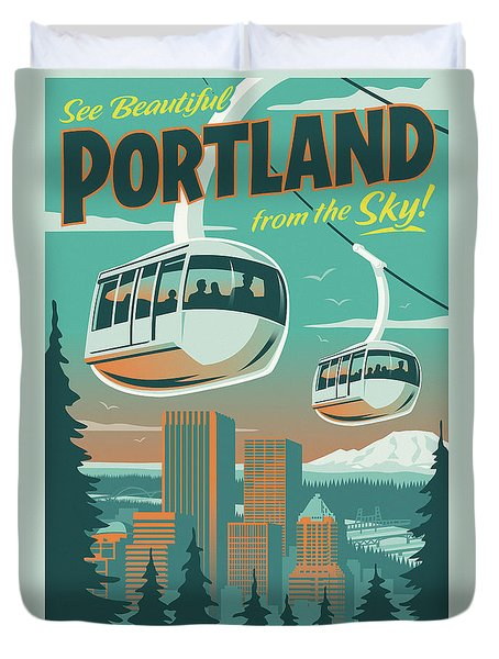 Portland Poster - Tram Retro Travel Duvet Cover