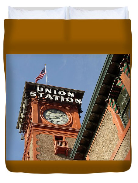 Duvet Cover featuring the photograph Portland Union Sataion by Jean Noren