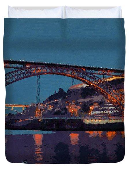 Porto River Douro And Bridge In The Evening Light Duvet Cover