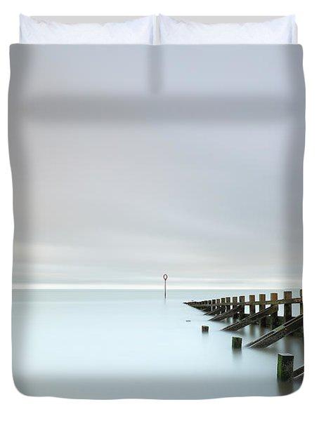 Duvet Cover featuring the photograph Portobello Sea Groynes by Grant Glendinning