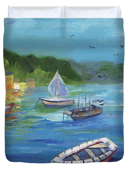 Duvet Cover featuring the painting Portofino, Italy by Jamie Frier