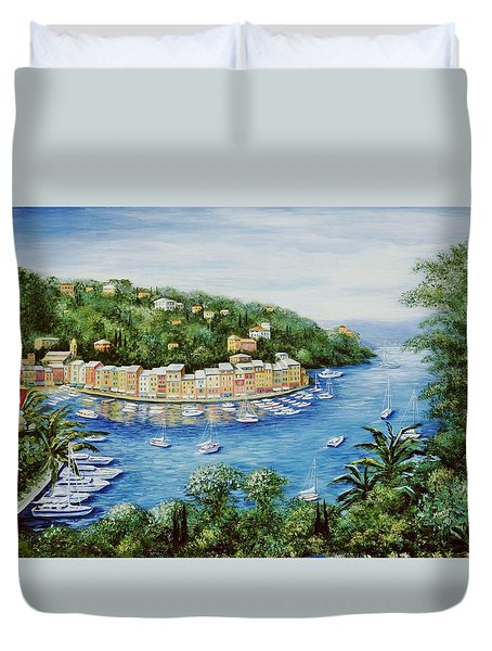 Portofino Majestic Panoramic View Duvet Cover by Marilyn Dunlap