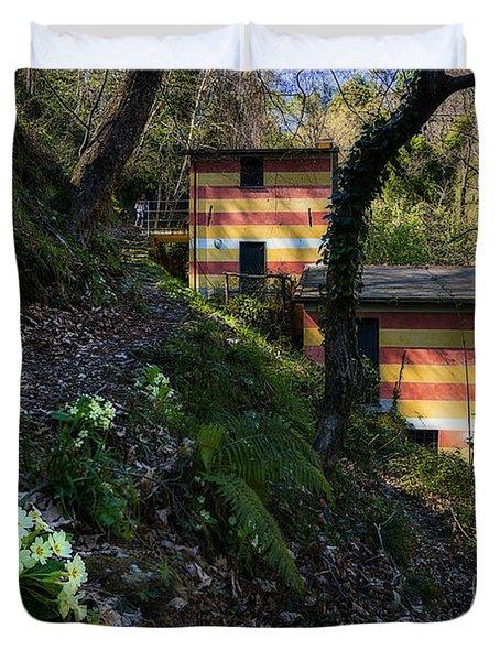 Portofino Mills Valley Walk With Flowers Duvet Cover