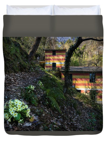 Duvet Cover featuring the photograph Portofino Mills Valley Walk With Flowers by Enrico Pelos