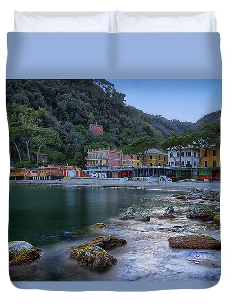 Portofino Mills Valley With Paraggi Bay And Beach Duvet Cover