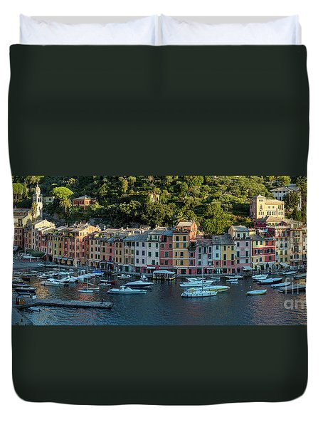 Duvet Cover featuring the photograph Portofino Morning Panoramic II by Brian Jannsen