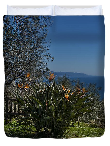 Portofino Mount Flowers Liguria Seascape Panorama Duvet Cover