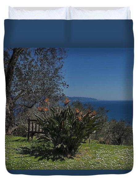 Duvet Cover featuring the photograph Portofino Mount Flowers Liguria Seascape Panorama by Enrico Pelos