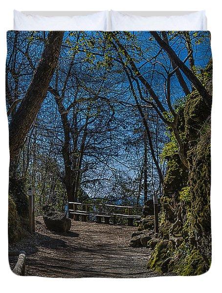 Portofino Mount Hiking Itinerary Pass Duvet Cover