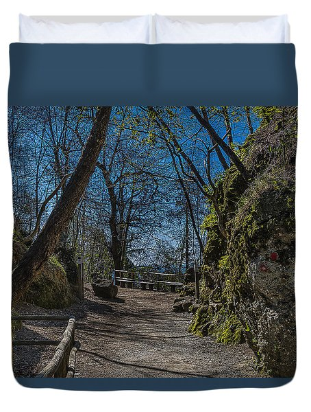 Duvet Cover featuring the photograph Portofino Mount Hiking Itinerary Pass by Enrico Pelos