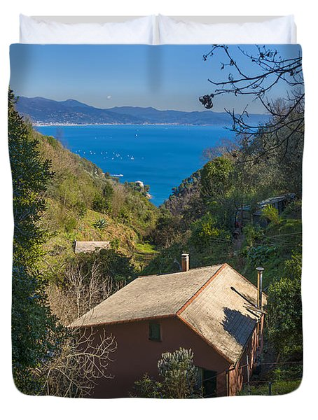 Portofino Mount Valley With Liguria Seascape Duvet Cover