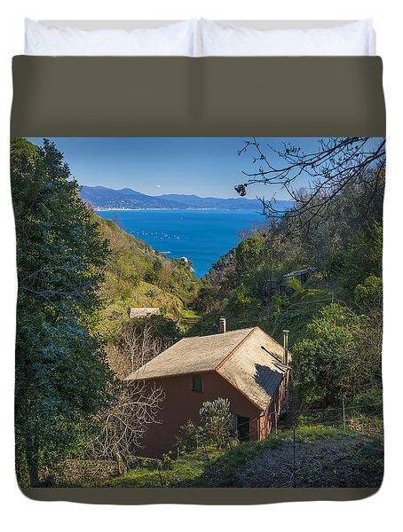 Duvet Cover featuring the photograph Portofino Mount Valley With Liguria Seascape by Enrico Pelos
