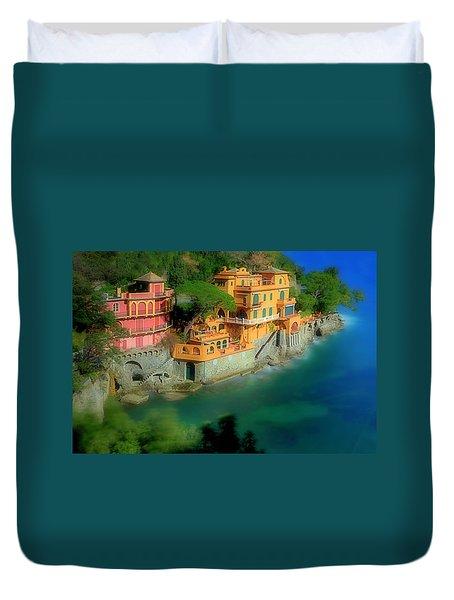 Duvet Cover featuring the photograph Portofino Park Bay by Enrico Pelos