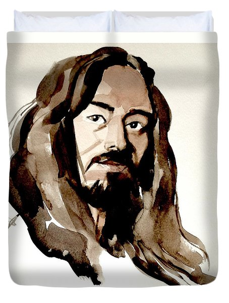 Watercolor Portrait Of A Man With Long Hair Duvet Cover by Greta Corens