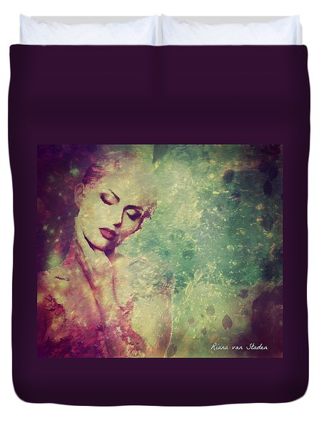 Duvet Cover featuring the digital art Portrait 36 by Riana Van Staden