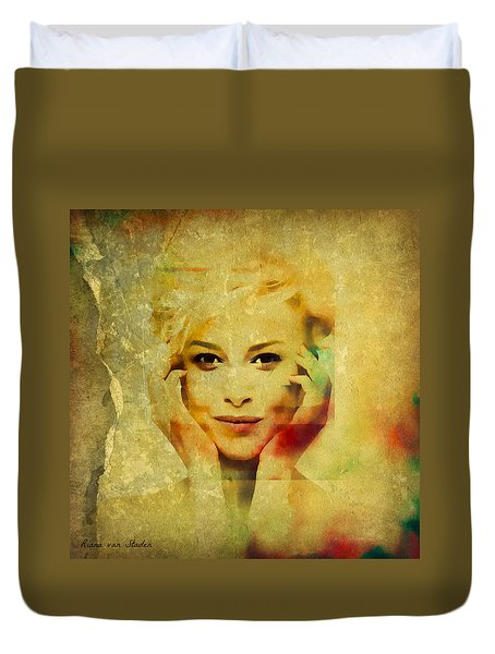 Duvet Cover featuring the digital art Portrait 40 by Riana Van Staden