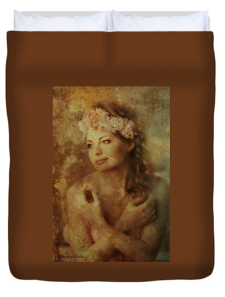Duvet Cover featuring the digital art Portrait 44 by Riana Van Staden