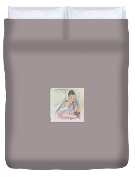 Duvet Cover featuring the painting Portrait by Gloria Turner
